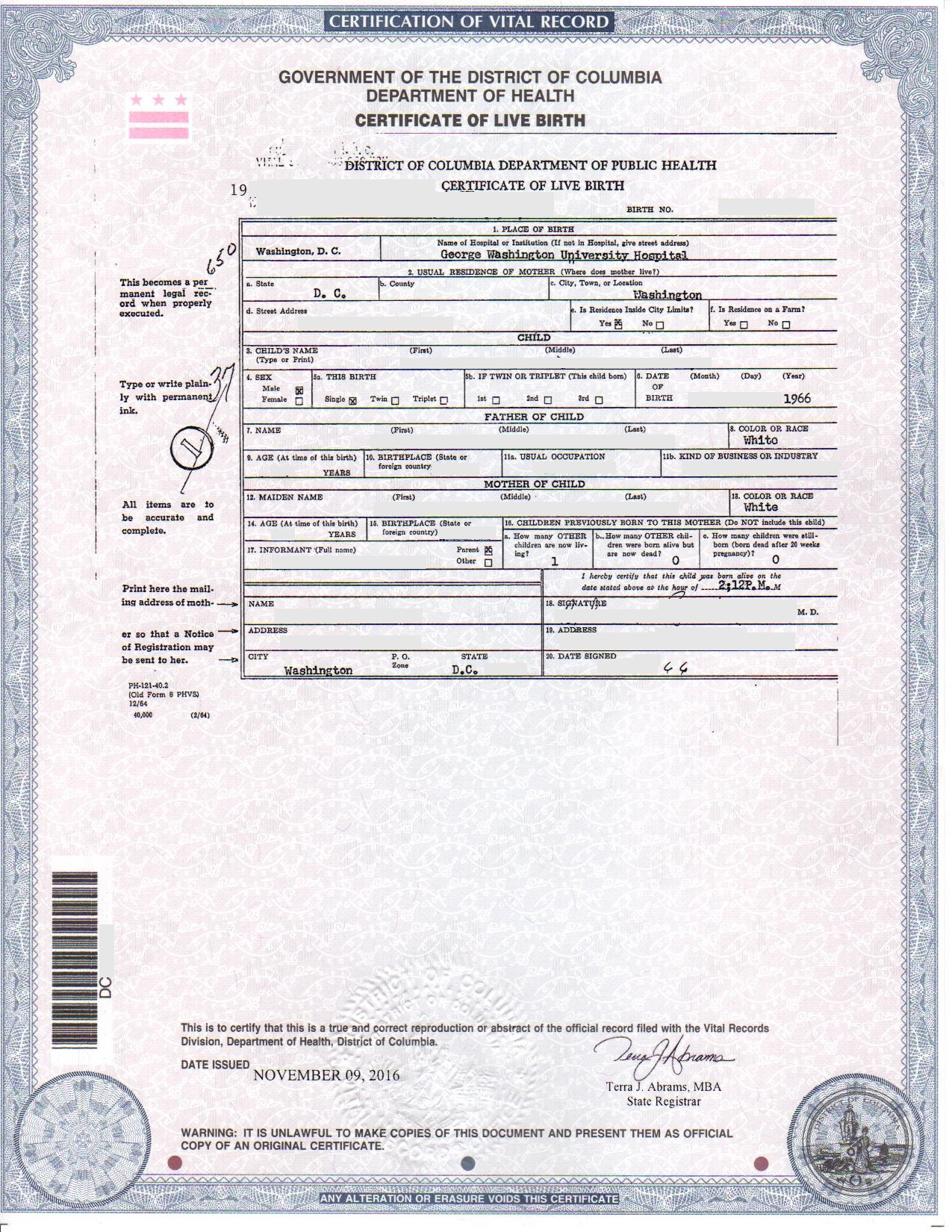 Dc birth certificates for foreign use step 1 is your birth certificate eligible xflitez Images