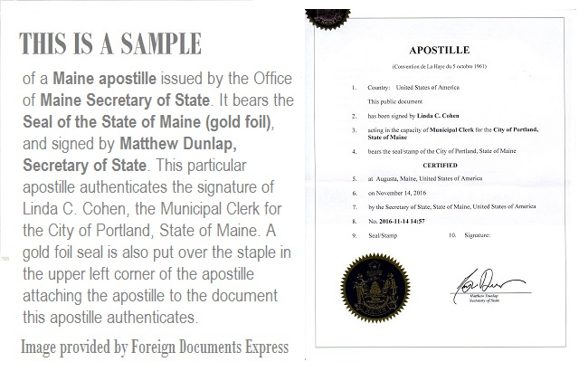 What does a maine apostille look like - Us department of state office of authentication ...
