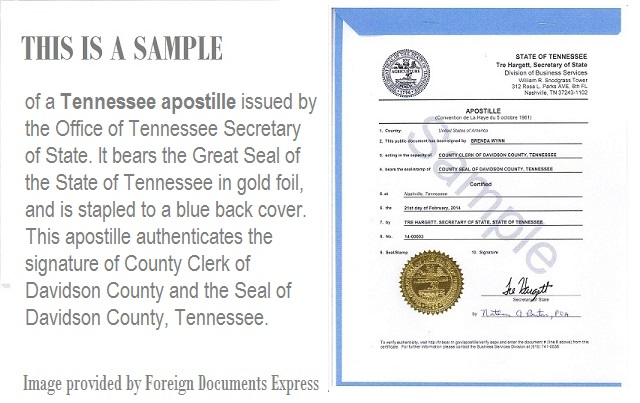 What does a Tennessee apostille look like?