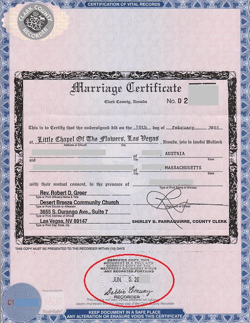 Las Vegas marriage certificate with an apostille